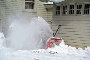 The gale-force winds caused the snow to drift and accumulate in many places. The snow-blower was put to good use in the driveway in front of my carport.