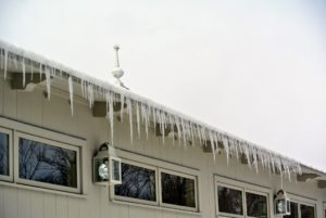 Icicles hang from the Equipment Barn roof. Always watch out for icicles that may form from the rooftops - these could really injure someone if they fall.