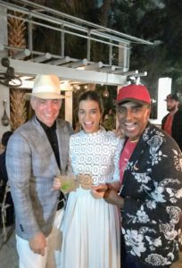 """Geoffrey, his wife Margaret, and Chef Marcus Samuelsson posed for this snapshot. Geoffrey and Margaret also hosted an event at SOBE called """"Samba Late Night Supper""""."""