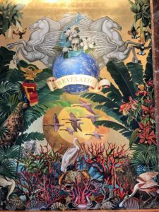 """The next day, we headed to the Faena Hotel. Artist Juan Gatti, the Michelangelo of Faena created """"The Way to Futopia"""", eight large scale site-specific murals. They reference classical themes of love, war, knowledge, passion and nature. This one is called """"Revelatio""""."""