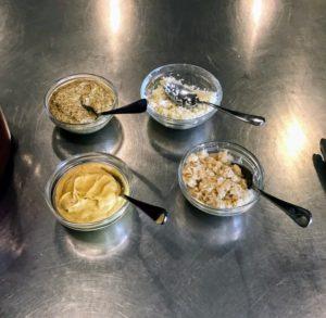We served the corned beef with freshly grated horseradish, prepared horseradish, Dijon mustard and country mustard.