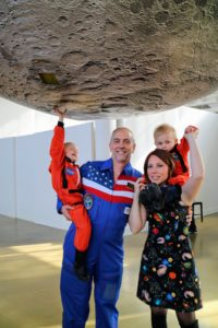 My friend, Richard Garriott de Cayeux, came to the party dressed in the flight suit he wore when he traveled into space! His wife Laetitia and their children, Kinga and Ronin, were also perfectly dressed to match the party theme.