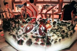 Here's a mouthwatering seafood display of king crab legs, stone crab legs, mussels, Kumamoto oysters, and Maine lobsters - everything was so fresh.