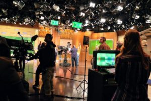 This is the set - the cameras are in position, the stage manager  is counting down the seconds before air, and Dr. Oz is about to start the show.