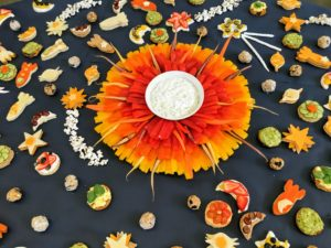 He also made a solar system of crudite, which included canapes and meringues in star, sphere and moon shapes.