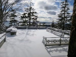 Of course, for me, Maine is magical any time of year. Because of my busy calendar, I don't often get to visit Skylands during the winter months, but Cheryl Dulong, who works there, sends me many beautiful photographs to keep me updated. This photo was taken soon after a recent winter storm from Skyland's Terrace One looking out over Seal Harbor.