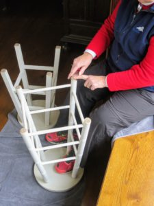 The new EZ Glide is affixed to the stool leg - so easy to do, just peel and stick.