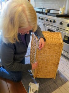 Gretchen uses EZ Glide strips for the bottom of these laundry baskets.