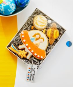 My friend, Dani Fiori, made these custom cookies. (Photo by Linda Pugliese, courtesy of Martha Stewart Living) See how Dani made them at http://sweetdanib.com/2017/02/space-themed-galaxy-birthday-party-martha-stewart/
