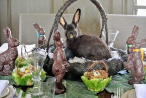 This is a real rabbit taxidermy, which Kevin gave me in one of my annual Easter baskets. He is very happy displayed in this Japanese basket.