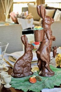 These rabbits look like milk chocolate but are actually plastic molds - so cute and also much longer lived than the real thing!!