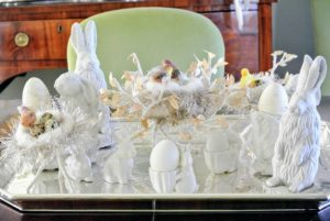 "On the dining table in my ""bird room"", a collection of white Easter decorations create this beautiful centerpiece."