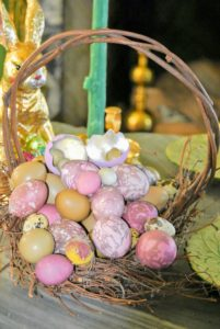Here, lots of decorated eggs - save eggs from years past and reuse them in different ways. And go to my web site for lots of great Easter egg decorating tips and ideas - there's still time to decorate! http://www.marthastewart.com/1060471/easter-eggs