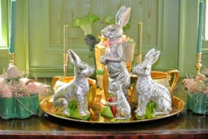 In my Green Parlor - these look like old fashioned chocolate bunnies wrapped in foil, but they're really ceramic bunnies covered in foil. They may not be edible, but they will last much longer.