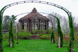 The rose garden is the oldest municipal rose garden in the United States and the third largest rose garden in the country. This gazebo is in the center of the rose garden.