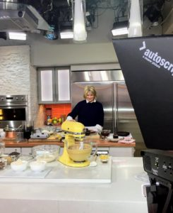 Here I am on The Today Show set  during the tease to our segment - I am preparing some of the ingredients for our Chocolate Beet Cake.