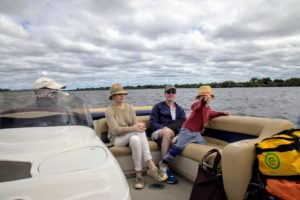 I took this quick photo of Alexis, Kevin and Truman while on our boat from the airport to the lodge and to Victoria Falls. We started our adventures right away.