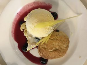 "Dessert was also from ""Vegetables"" - cornmeal shortcakes and corn ice cream with blueberries. The chef embellished it with a white chocolate bark with corn and blueberries."