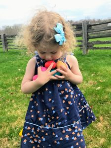 I loved seeing all the children have so much fun collecting eggs. This is Juliette, the granddaughter of my good friend, Jane Heller.
