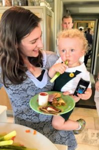 Here is my niece, Sophie Herbert Slater, and her son, Silas. Silas is such a good eater.