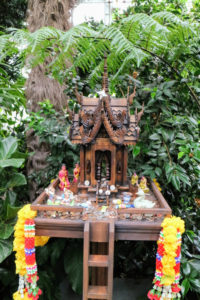 "Spirit houses are part of traditional Thai gardens - they include small platforms filled with daily offerings such as fruit, flowers, coins and incense - all to keep the ""spirits"" happy."