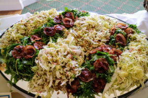 """Here is another recipe from """"Vegetables"""" - a delicious mix of greens topped with pancetta."""