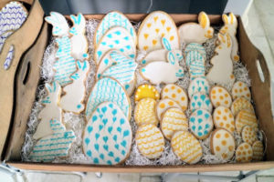 Here are some of the dozens of sugar cookies I made for Easter. Truman chose one of the rabbits, Jude chose an egg.