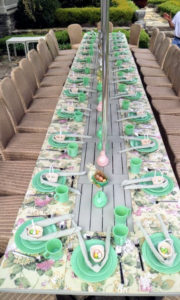 "We set a ""kids table"" outside on my terrace parterre. I had a total of 28-children attend my Easter party."