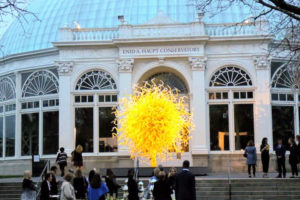 This is called Sol del Citron. It sits in front of The NYBG's historic Enid A. Conservatory. It is one of the pieces in Chihuly's show - his first major garden exhibition in New York in more than 10-years.