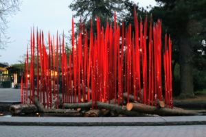 This piece is truly eye-catching. It's called Red Reeds on Logs - such a beautiful combination of glass art and nature.