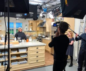 "I am shooting this Facebook LIVE from our New York City headquarters in the Martha Stewart Living ""Turkey Hill Kitchen"". I love this kitchen - it is so bright and spacious - we use it for many of our Facebook LIVE broadcasts. http://www.homedepot.com/c/SPC_BRD_MSL_Kitchen"
