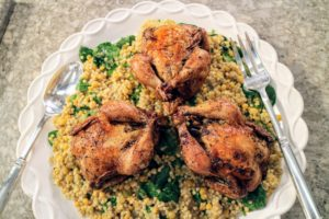 I also do a show featuring grains - this mixed-grain pilaf with chicken is a big favorite.