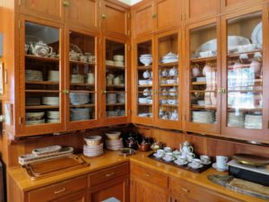 Right off the kitchen is the butler's pantry, or servery. I keep a lot of fine china here - much of it belonged to Mrs. Ford.