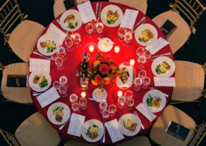 The tables were all set so beautifully in a palette of red and white. (Photo by Culinary Institute of America/Phil Mansfield)
