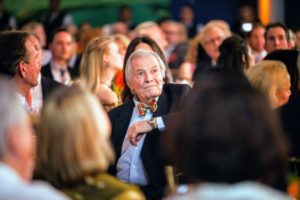 Here is Jacques watching from his seat at the table. Jacques has received many awards including the Daytime Emmy Award won with Julia Child, and two of the French government's highest honors: the Chevalier de L'Ordre des Arts et des Lettres in 1997 and a Chevalier de L'Ordre du Mérite Agricole in 1992. (Photo by Culinary Institute of America/Phil Mansfield)