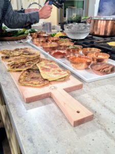 Here is the finished mardouf - everyone was so hungry. Mardouf is traditional Omani flatbread sweetened with dates, and infused with the flavors of saffron and fresh chives.