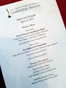 The menu included seared prawns, NY strip steak and a delectable array of desserts and pies.