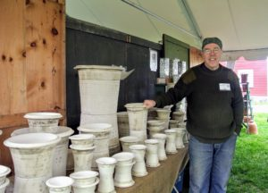 One of the first people I saw was master potter, Guy Wolff. His tent is always filled with beautiful pots. Guy's shop is in nearby Bantam, Connecticut. Ben's pottery is available online. http://www.guywolff.com