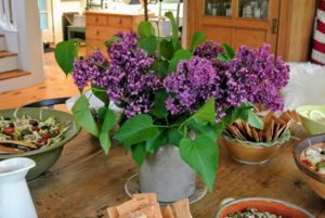 In the center of the table, another gorgeous container of lilacs - all the lilacs are blooming so wonderfully this season. Did you see my recent blog on the lilac allee at my farm? http://www.themarthablog.com/2017/05/my-blooming-lilacs.html