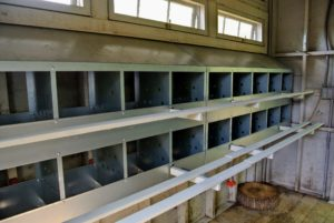 All the perches were painted my signature Bedford Gray to match all the structures on the farm.