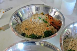 Here is one bowl filled with the rice, peas, sweet potatoes and a little basil I grabbed from my garden.