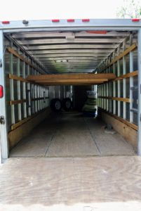 This is the enclosed trailer that we often use when moving plants and bulky objects. The drive from Bedford to Maine takes about eight hours.