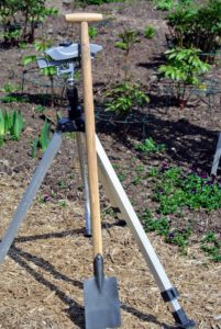And this is a gardener's lifetime raised bed spade. The raised bed spade is especially handy when working around existing plants in a crowded bed.