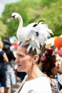 Hard to miss this fun and interesting swan hat. (Photo courtesy of BFA.com)
