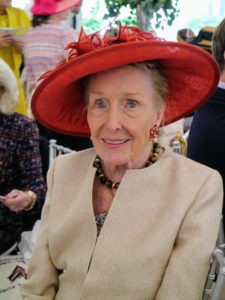 This is philanthropist, and founder of the Women's Committee, Norma Dana, in her bright colored hat.