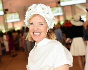This is fashion designer, Lela Rose, wearing a custom made hat in white. (Photo courtesy of BFA.com)