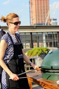 Martha & Marley Spoon Culinary Director, Jen Aaronson, conducted a fun grilling demo using the Big Green Egg, a ceramic kamado-style charcoal grill - have you ever used one? (Photo by Laura Manzano) http://biggreenegg.com