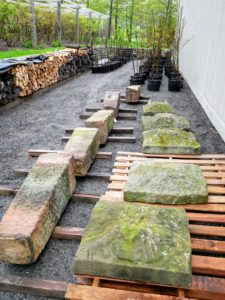 Earlier this week, I purchased five staddles from the annual NYBG Antique Garden Furniture Sale. Staddle stones were originally used as support bases for granaries, hayricks, and game larders. They typically looked like giant stone mushrooms, but these are square - a more rare and unique version. I can't wait to show you how I use them.