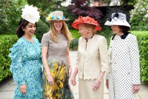 There was a sea of hats in the Conservatory Garden - here are Sima Ghadamian, Shelley Carr, Norma Dana, and Beth Dozoretz. (Photo courtesy of BFA.com)