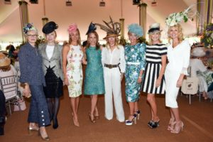 There were so many unique and interesting hats. Pictured here are Suzanne Newman, Darcy Rigas, Felicity Kostakis, Kamie Lightburn, Jennifer Cacioppo, Sharon Jacob, Elizabeth Petersen, and Kathy Prounis. (Photo courtesy of BFA.com)